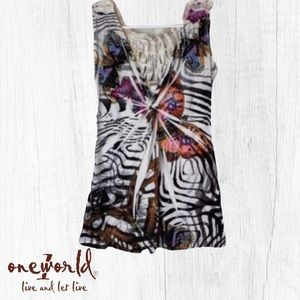 One World Tank Top Butterfly Print Size XS